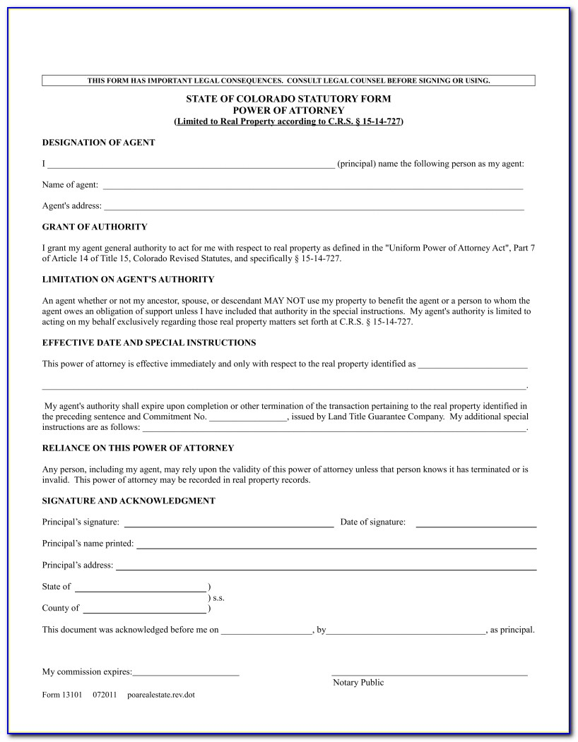 Power Of Attorney Form Colorado Real Estate