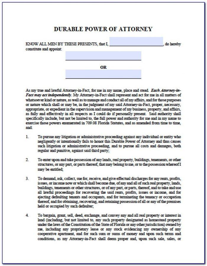 Power Of Attorney Form Florida Dmv