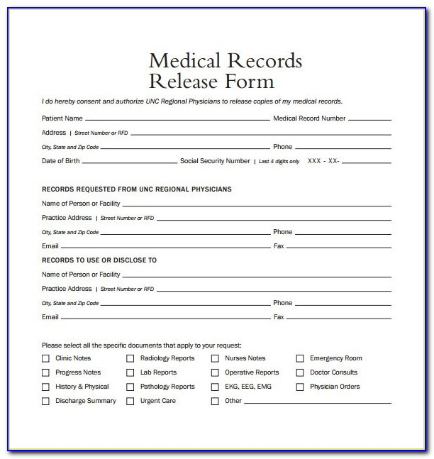 Medical Records Release Form Template Business Template Medical Records Request Form Template Medical Records Request Form Template