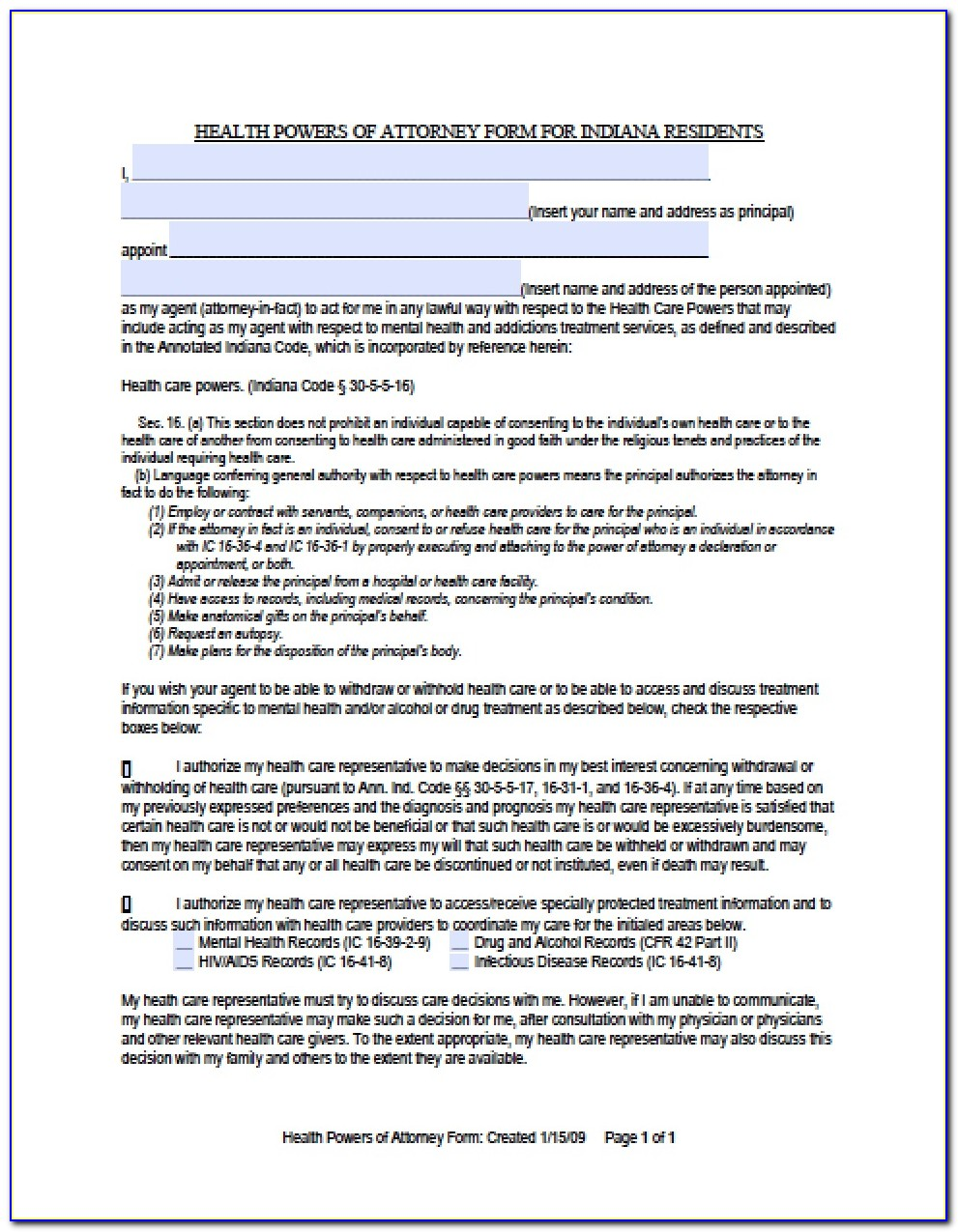 Power Of Attorney Form For Medical Treatment