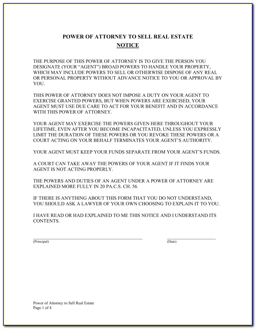 Power Of Attorney Form Nc Real Estate