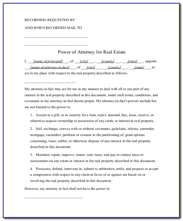 Power Of Attorney Form Nj Real Estate