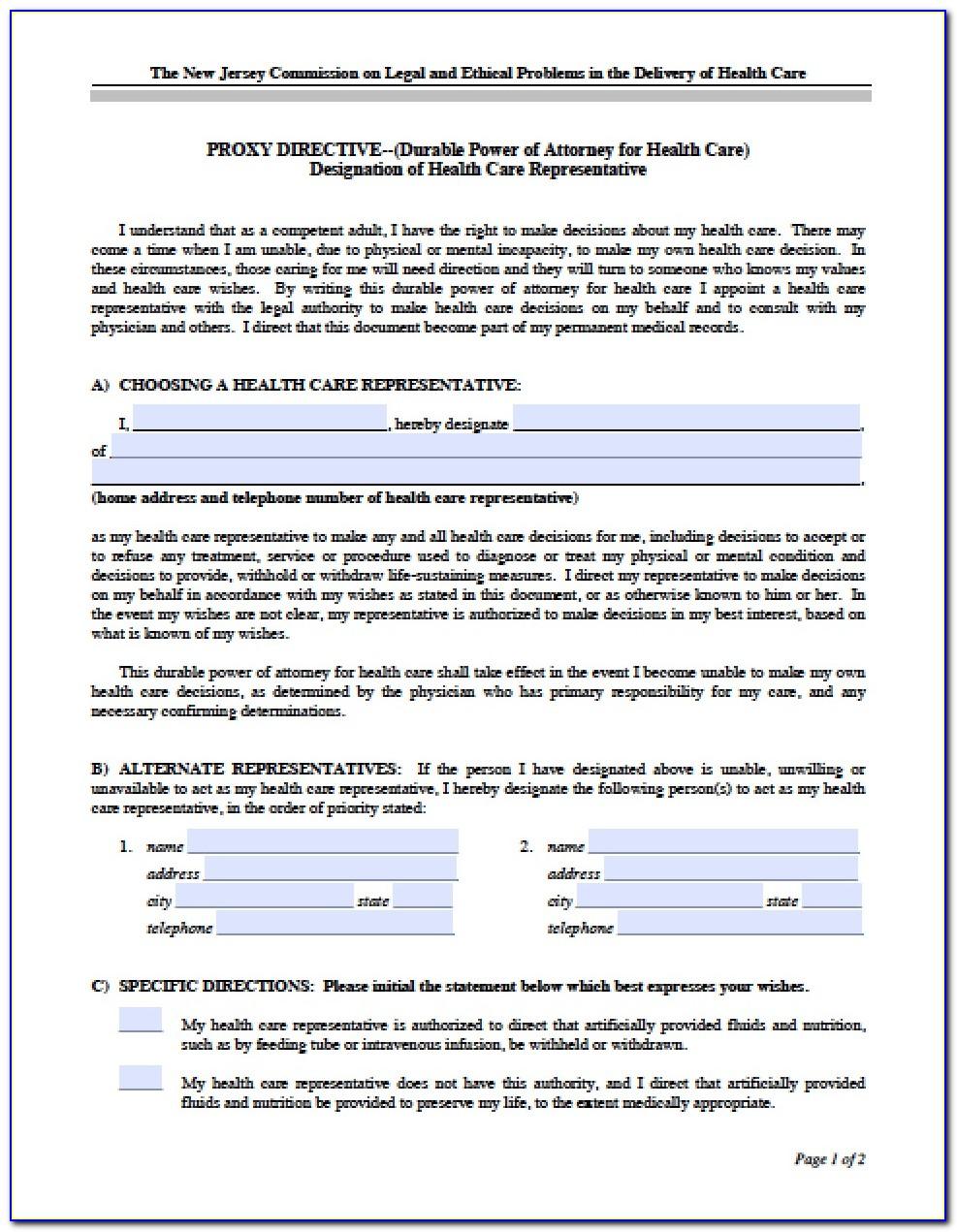 Power Of Attorney Form Nj Word Document