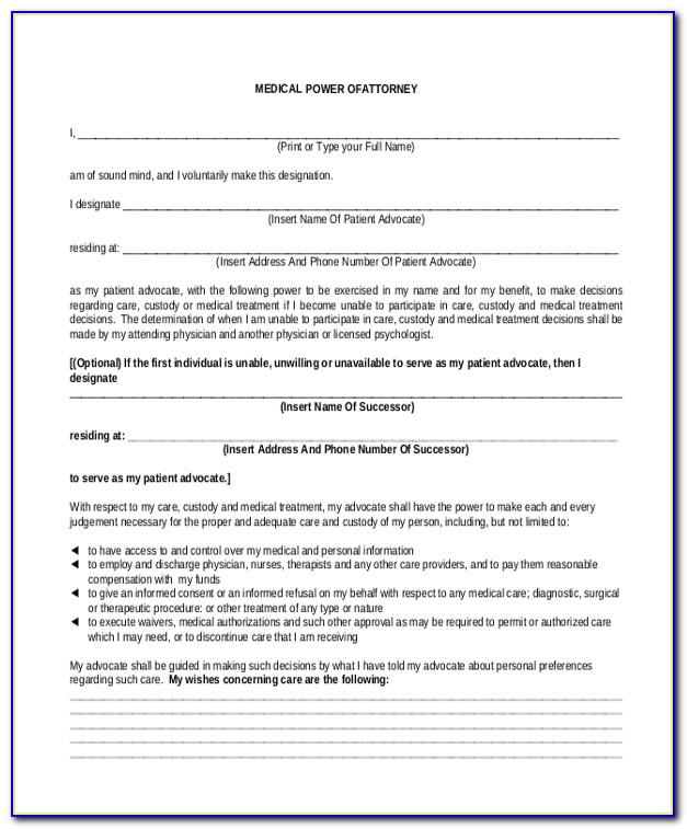 Power Of Attorney Form Temporary Custody