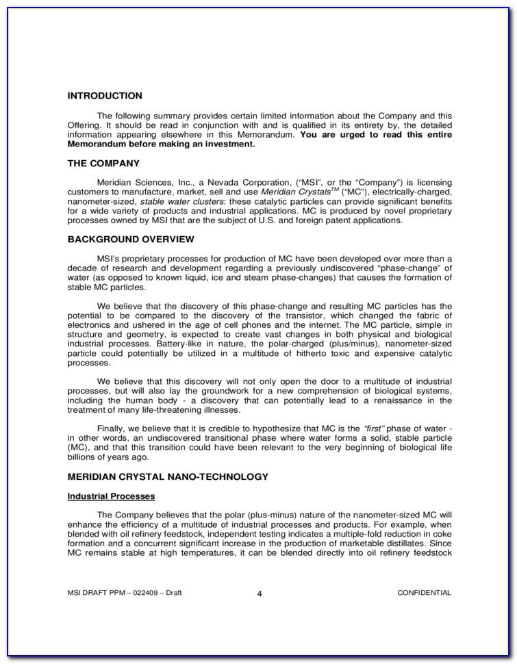 Ppm Private Placement Memorandum Template