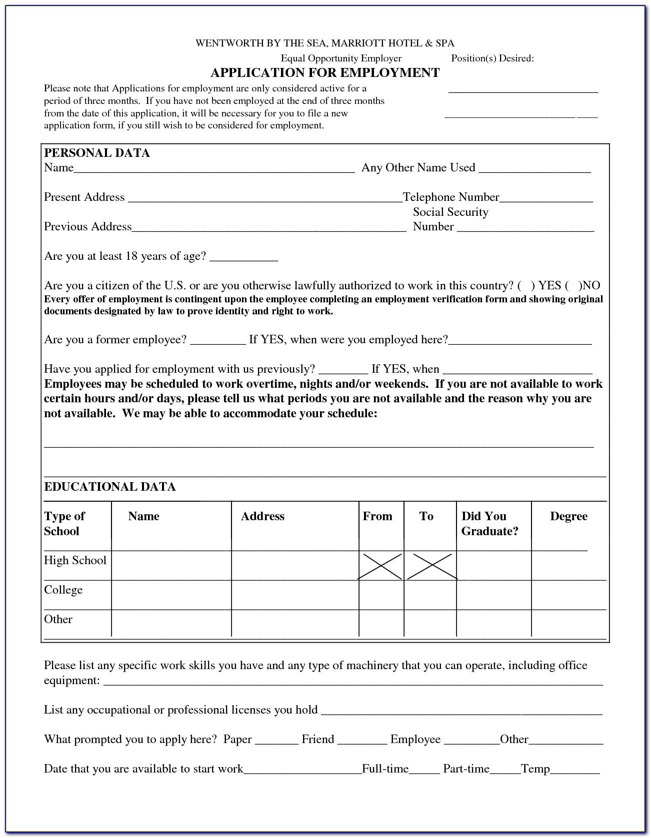 Printable Blank Job Application Form Pdf