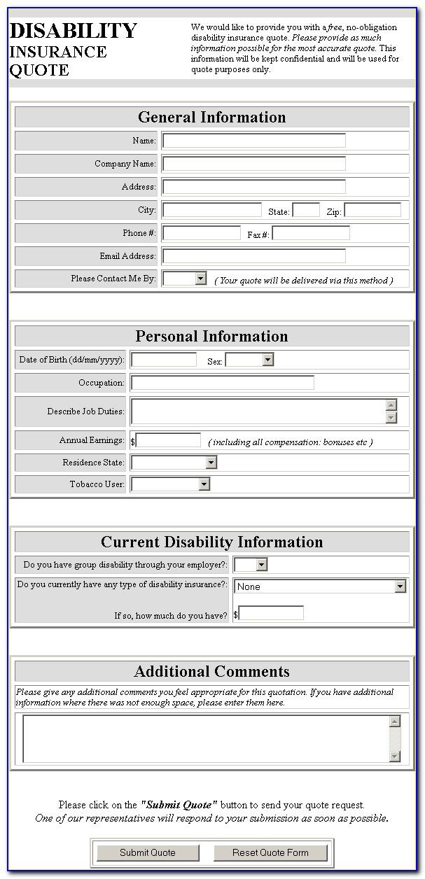 Printable Disability Claim Form
