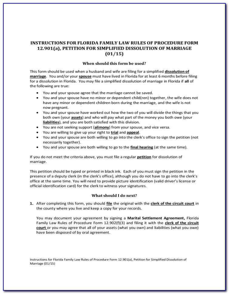 Printable Dissolution Of Marriage Forms Florida