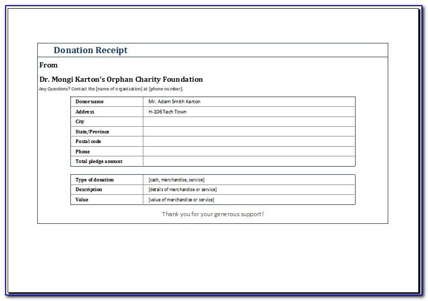 Printable Donation Receipt Form