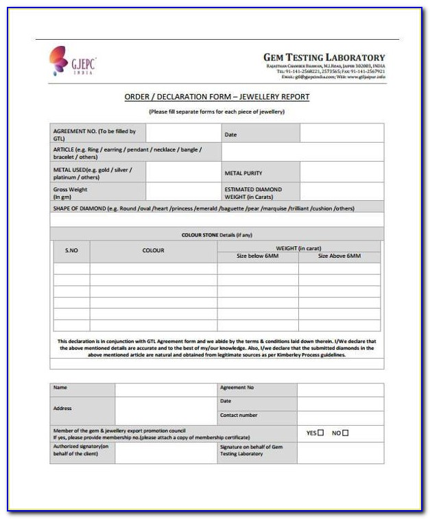 Printable Jewelry Appraisal Forms
