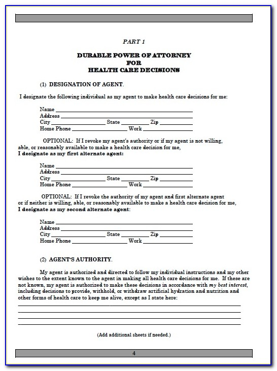 Printable Medical Power Of Attorney Forms