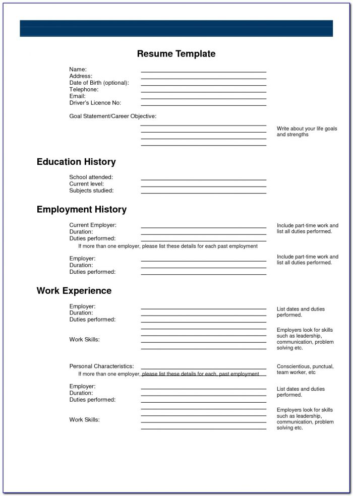 Printable Resume Templates Microsoft Word