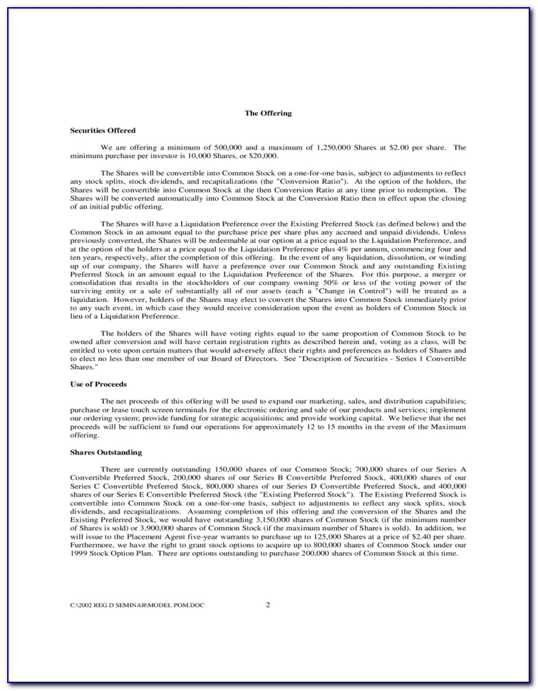 Private Placement Memorandum Format
