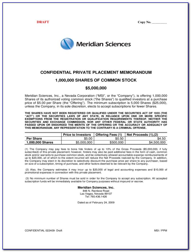 Private Placement Memorandum Sample