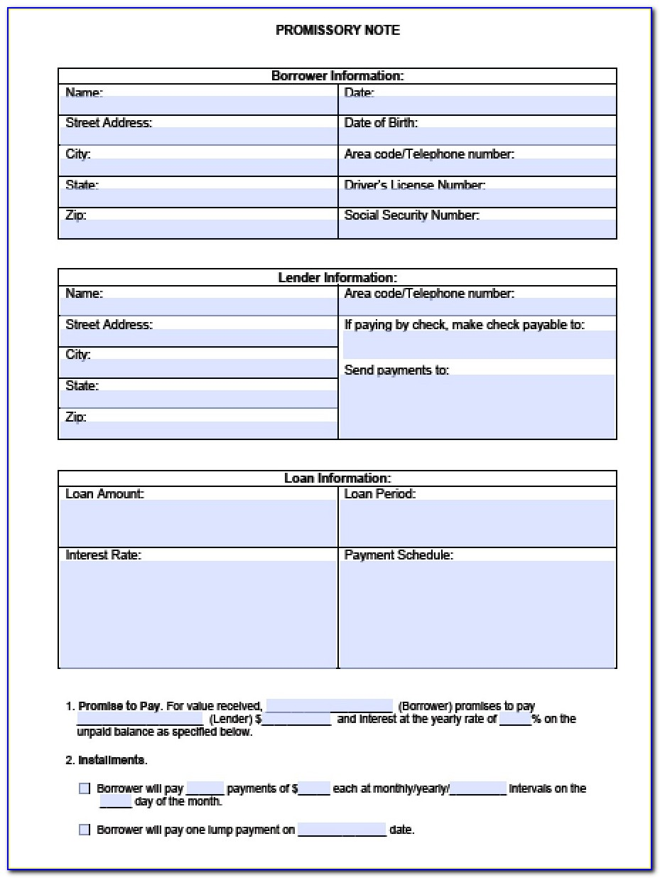 Promissory Note Form Template