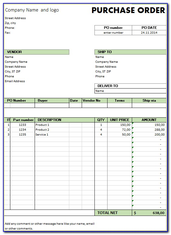 Purchase Order Form Excel Free Download