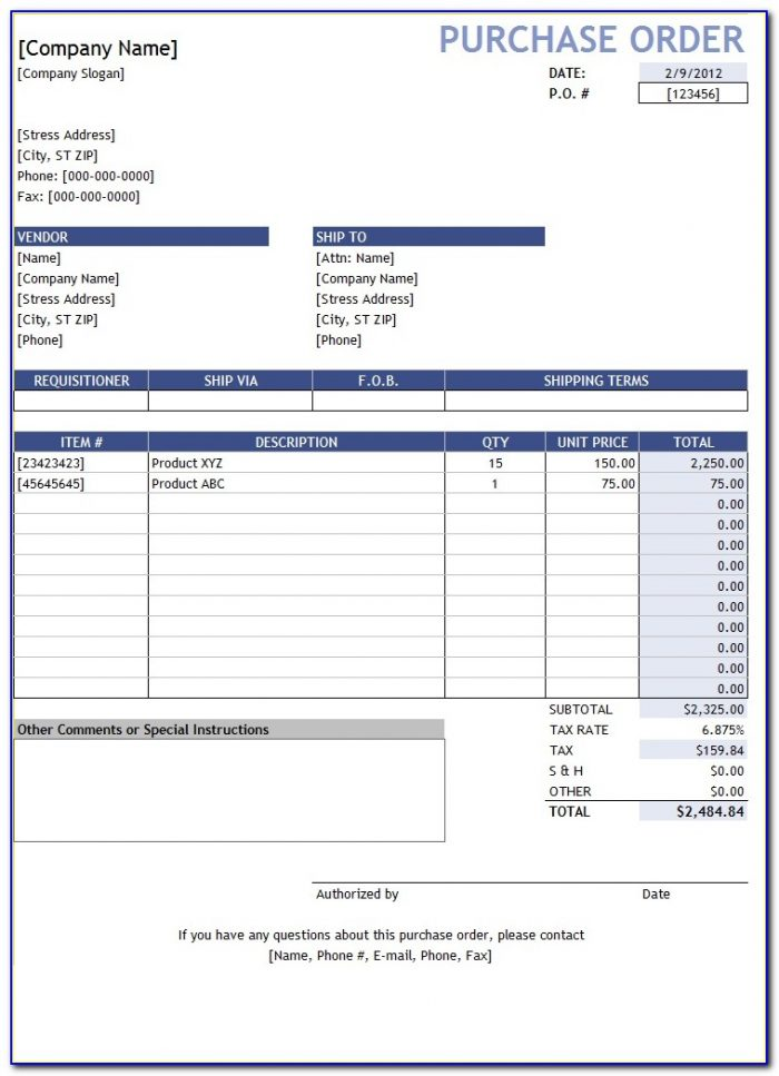 Purchase Order Format Excel