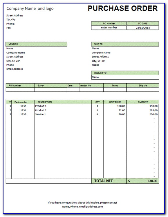Purchase Order Sample Excel File