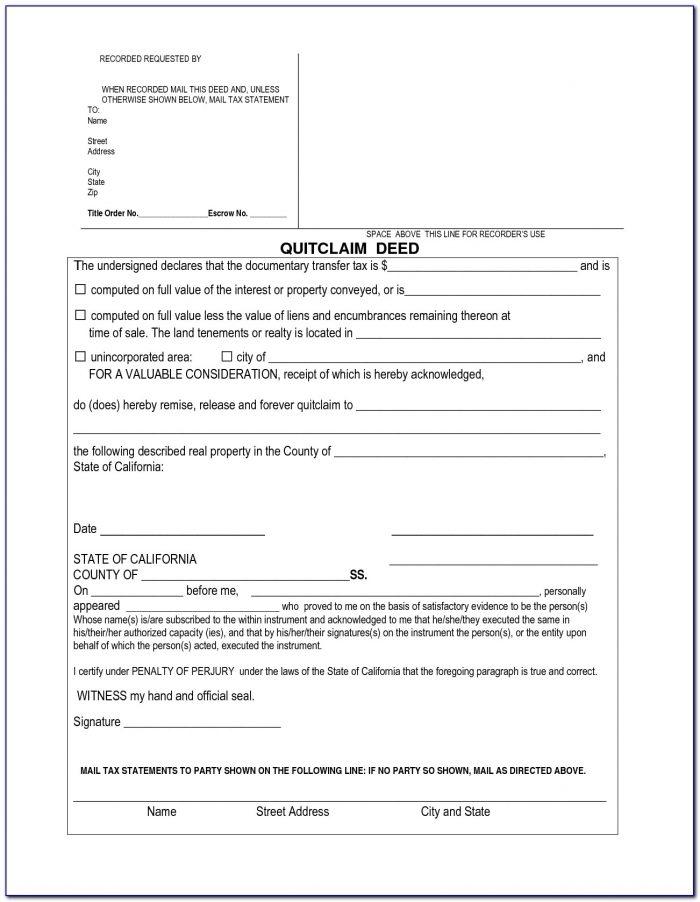 Quick Claim Deed Form Orange County California