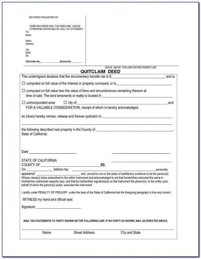 Quick Claim Deed Form Pdf