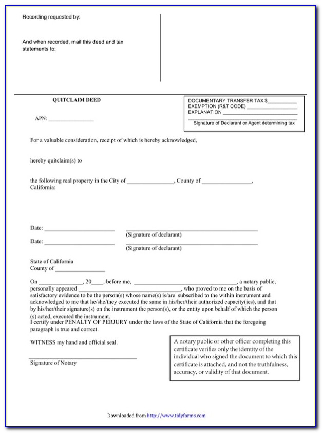 Quick Deed Transfer Form California