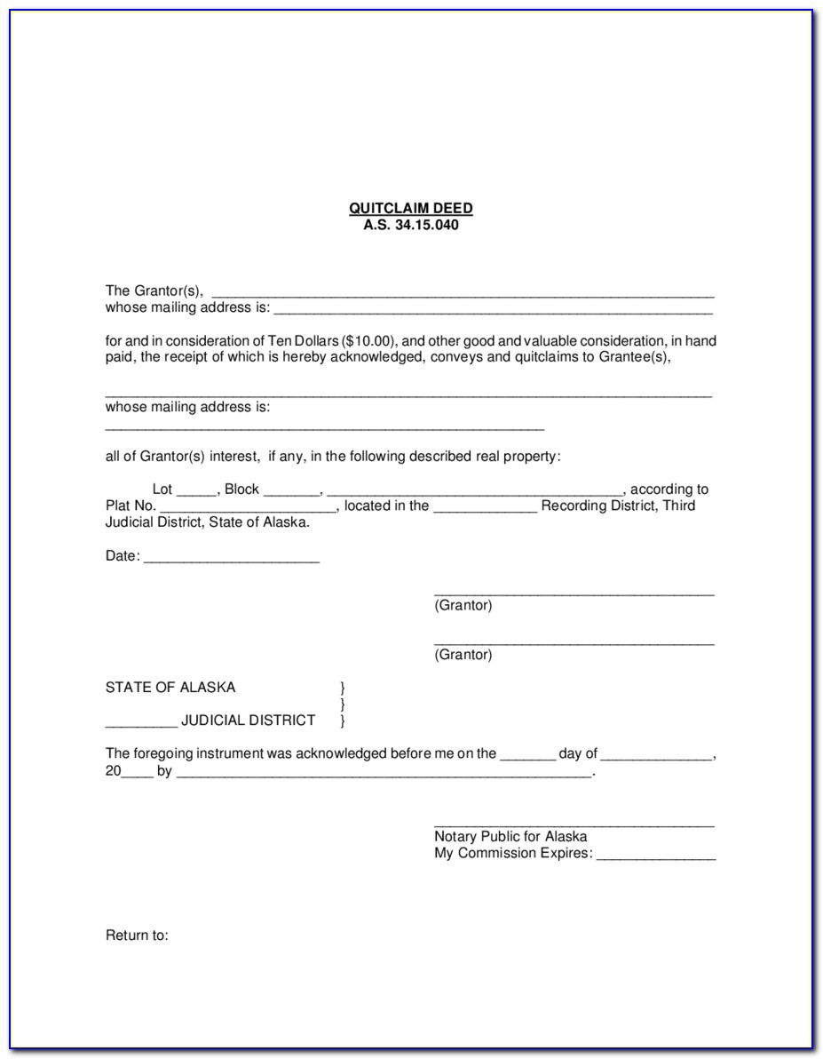 Quit Claim Deed Form Cleveland County Oklahoma