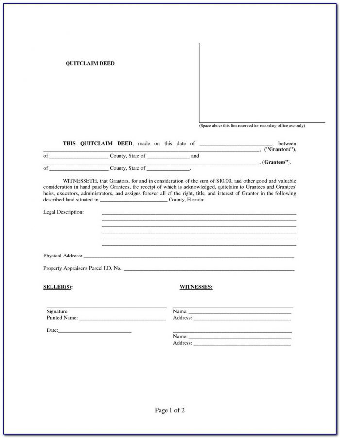 Quit Claim Deed Form Free Download Colorado