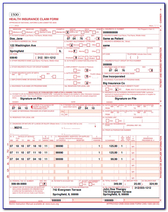 Railroad Medicare Cms 1500 Form