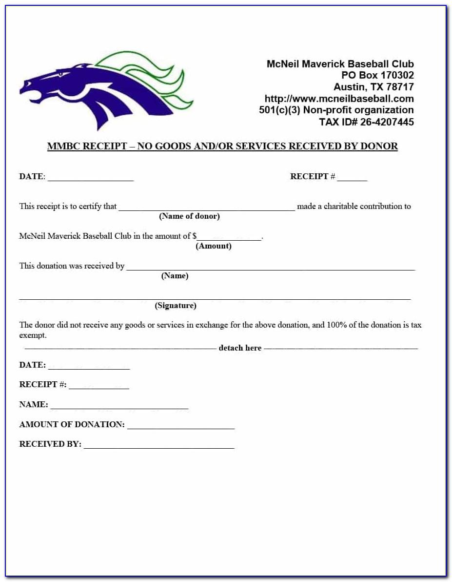 Receipt Of Donation Form Nonprofit