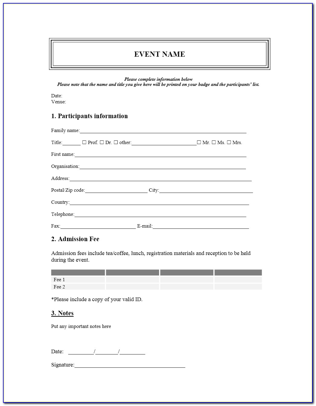 Registration Form Template In Html Free Download