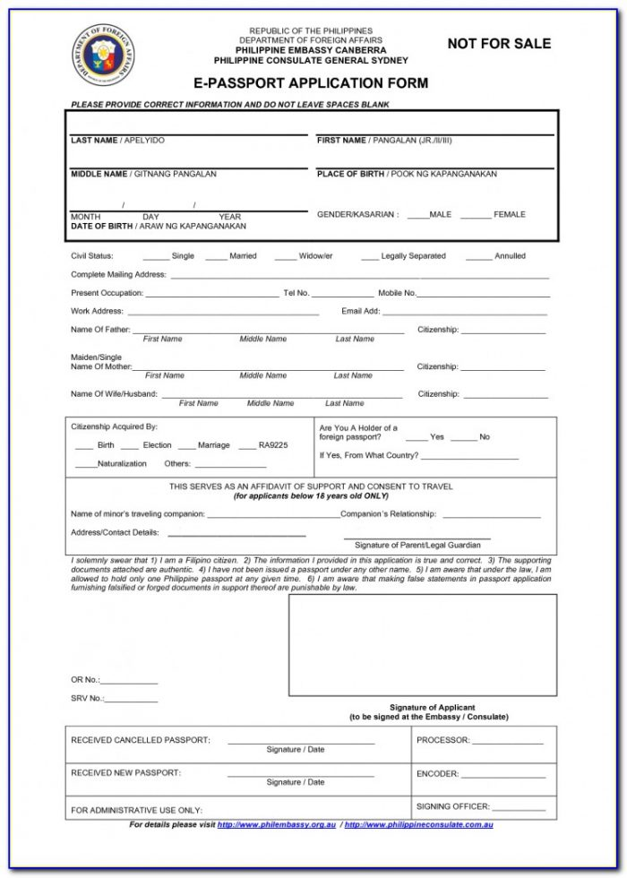 Renewal Of Passport Application Form Indian