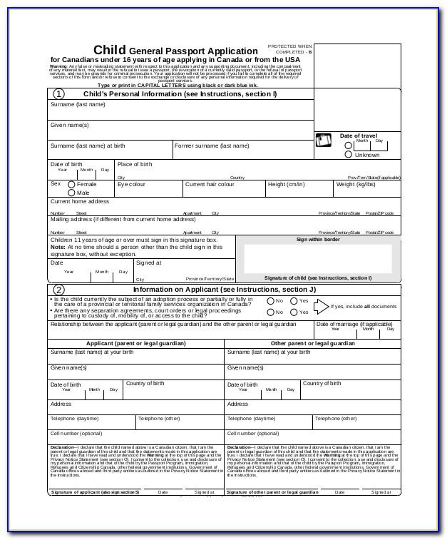 Renewal Of Passport Application Form Minor