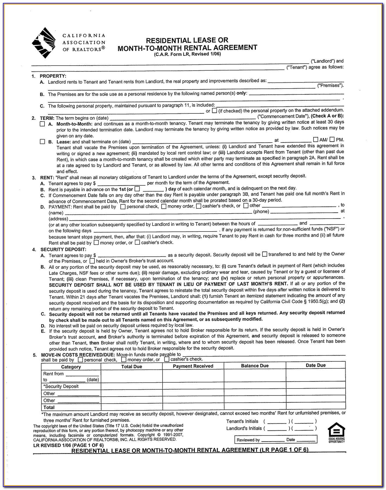 Rental Agreement Form California Association Of Realtors