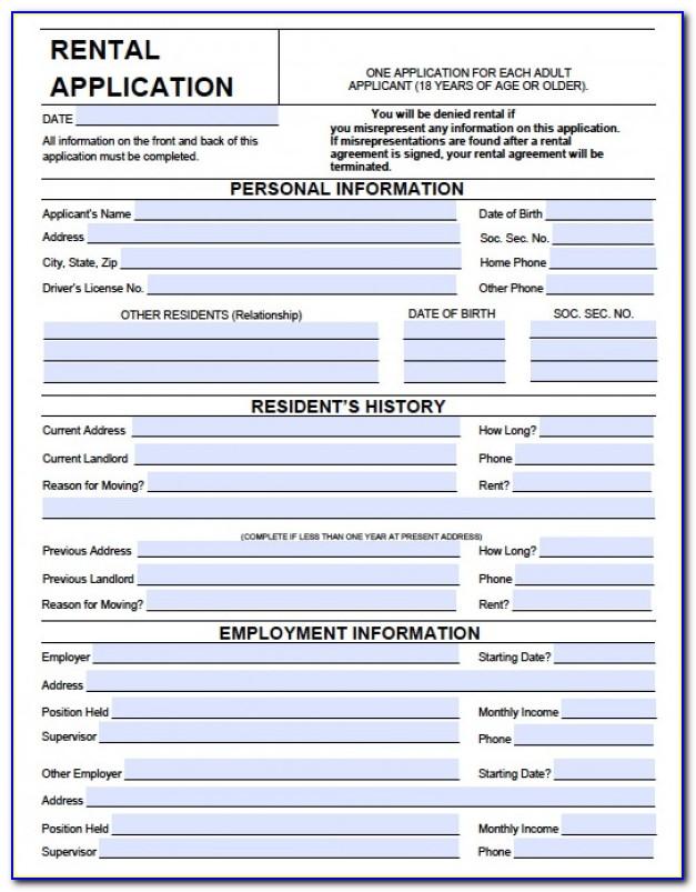 Rental Agreement Form Free Pdf