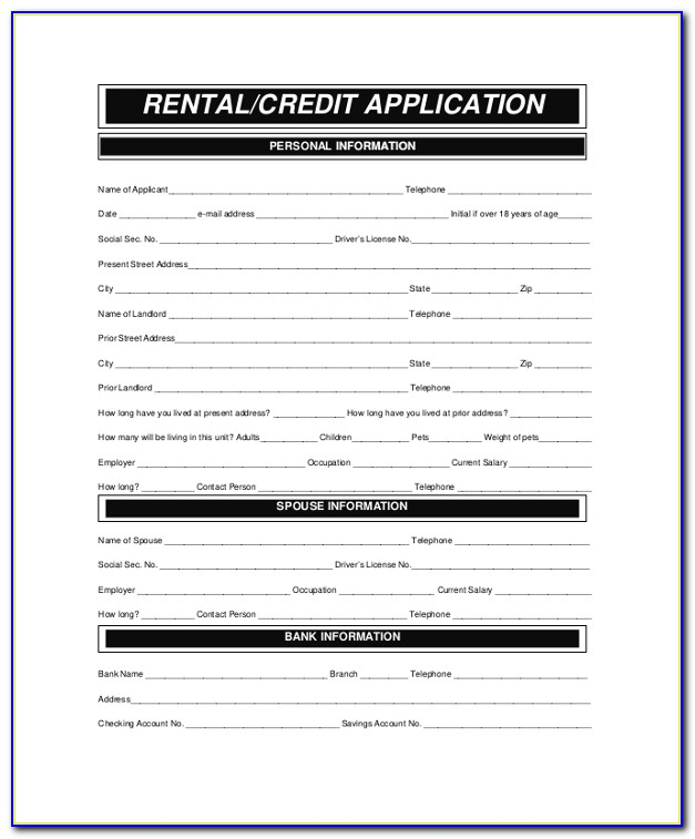 Rental Application Credit Check Form