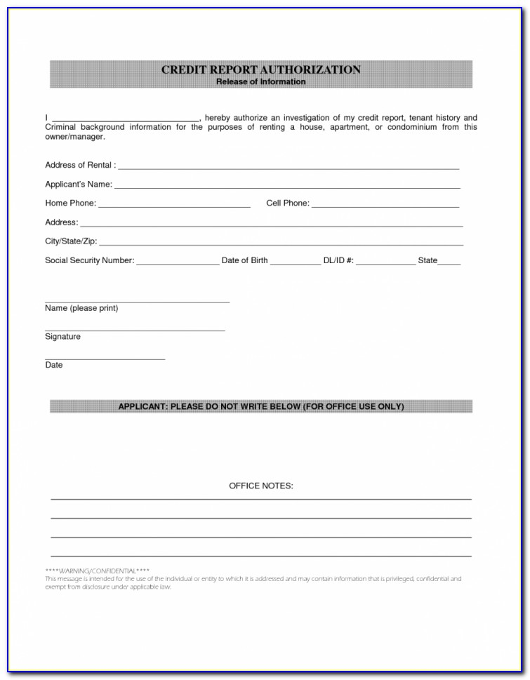 Rental Credit Report Authorization Form