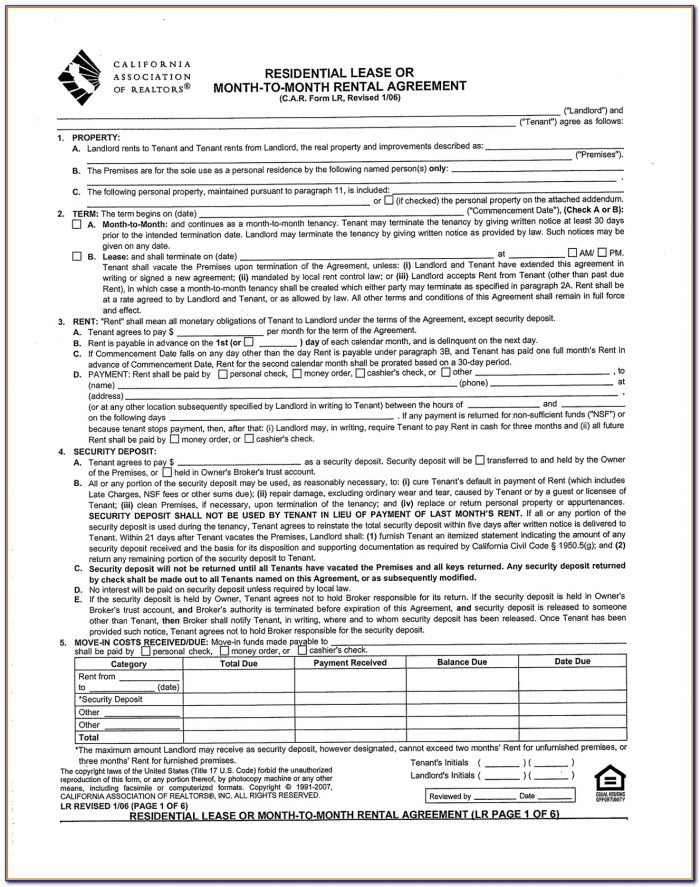 Rental Lease Agreement California Form