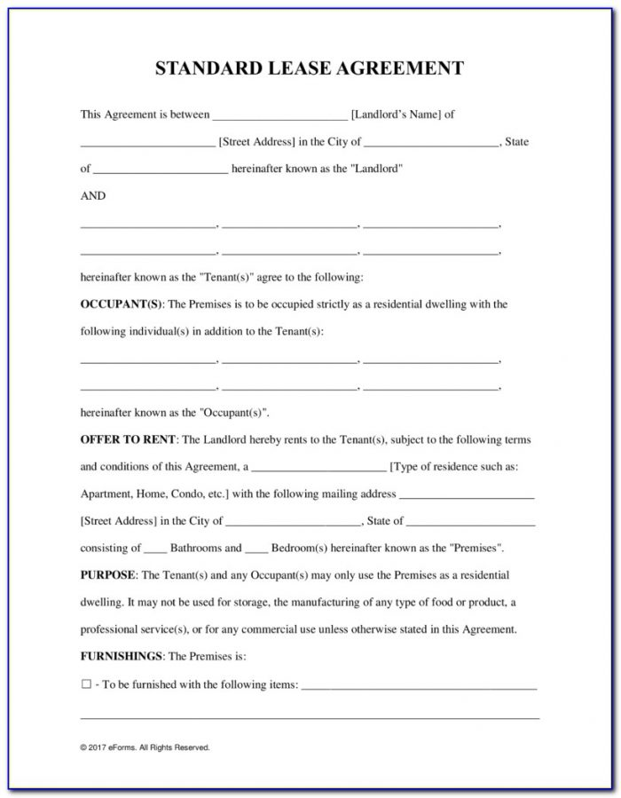 Rental Lease Agreement Form Pdf