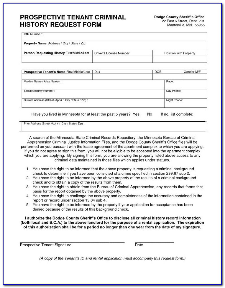 Renter Background Check Form