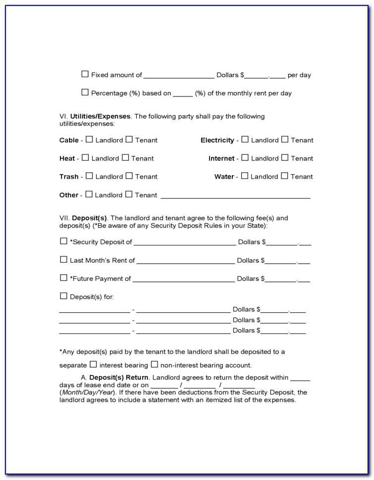 Residential Lease Rental Agreement Form Virginia