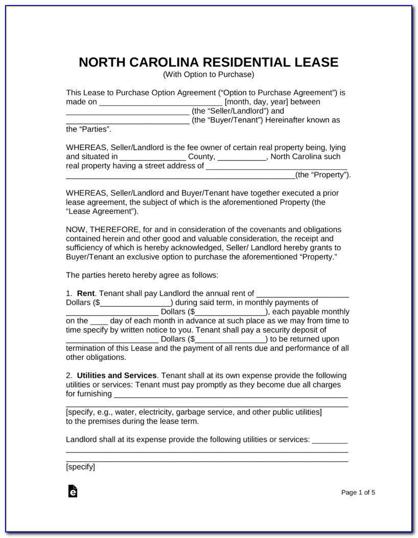 Residential Rental Agreement Form 410 North Carolina