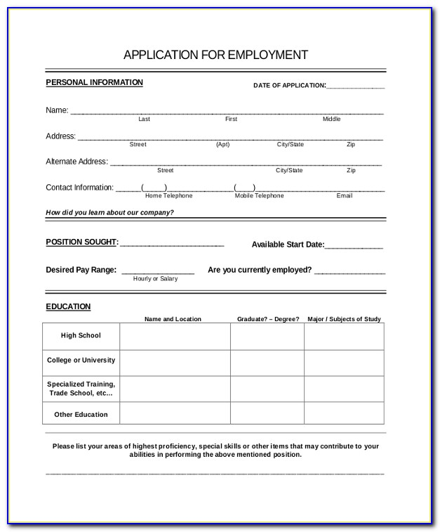 Restaurant Employment Application Form Template