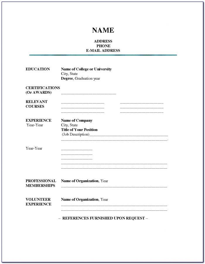 Resume Blank Form Download
