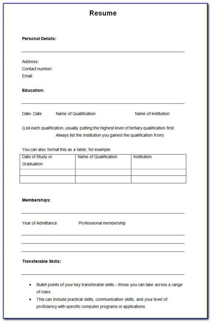 Resume Blank Format