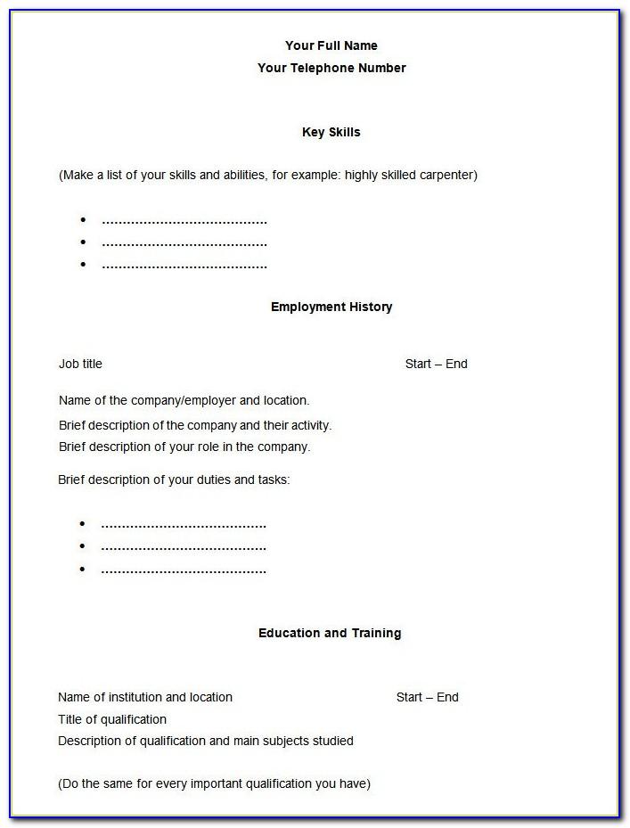 Resume Blank Format Word