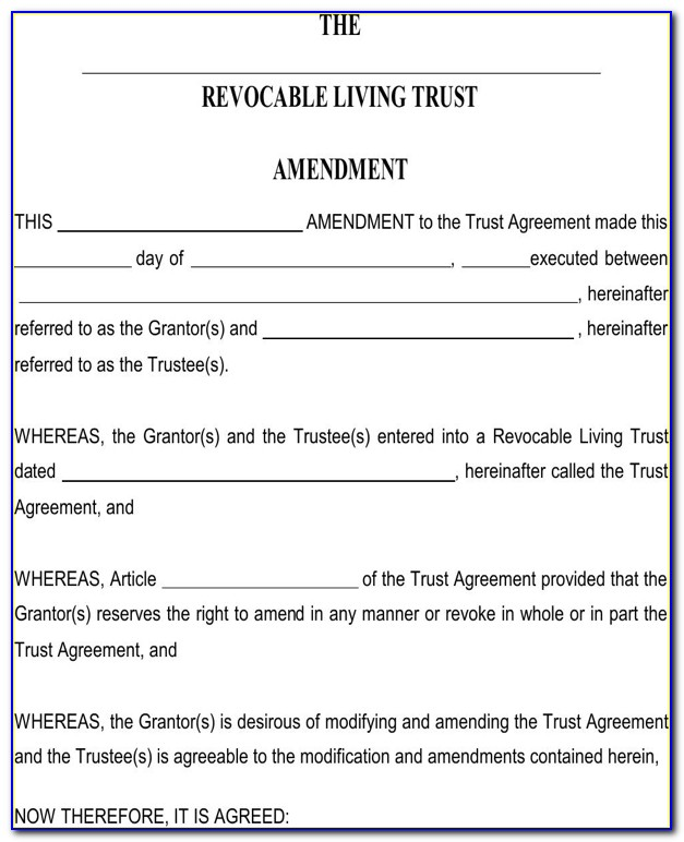 Revocable Living Trust Amendment Sample