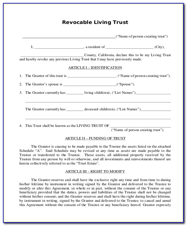 Revocable Living Trust Forms For California