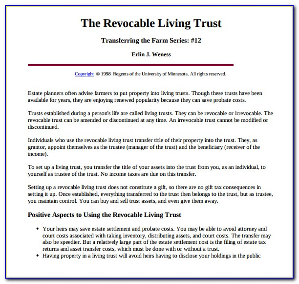 Revocable Living Trust Forms For Florida