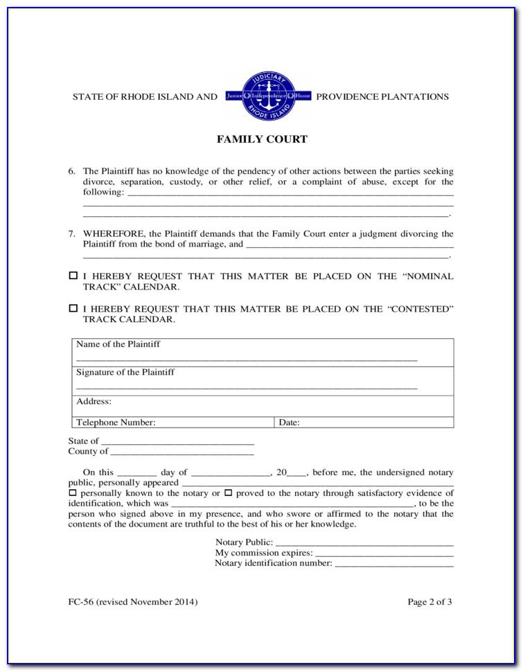 Ri Divorce Forms Free