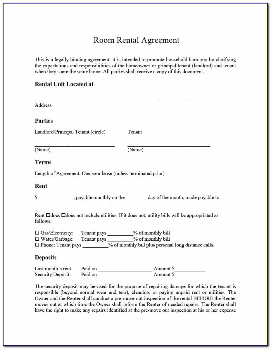 Room For Rent Agreement Form Free